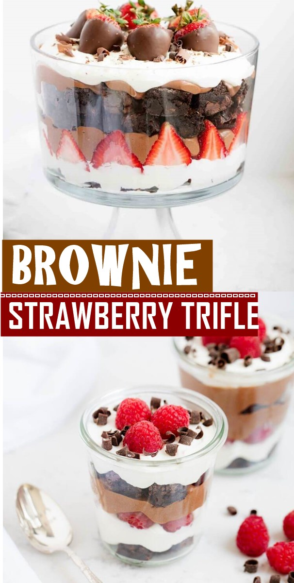 BROWNIE STRAWBERRY TRIFLE #dessertrecipes