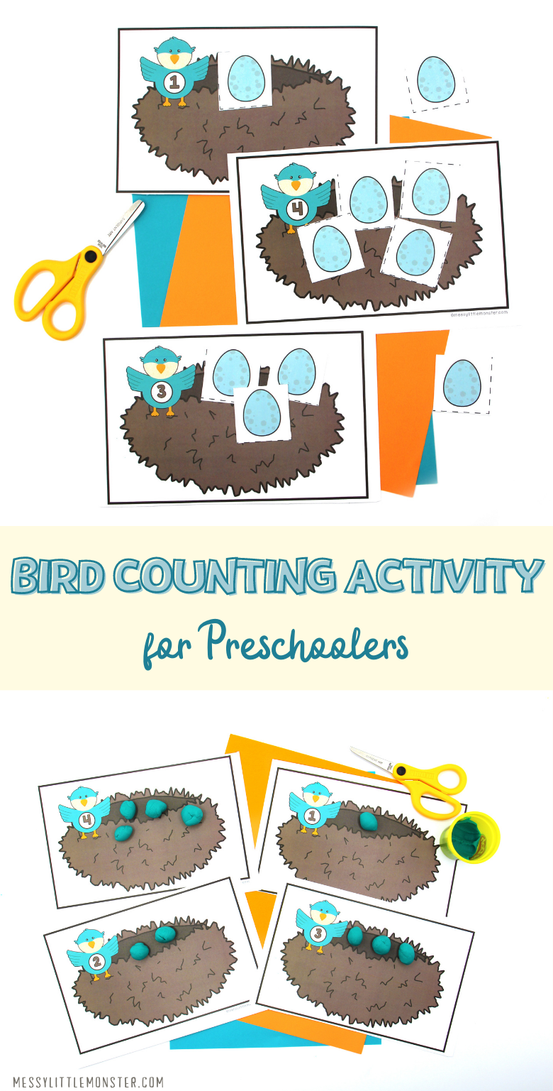 Counting activity for preschoolers. Bird activity for learning to count. Printable counting worksheet.