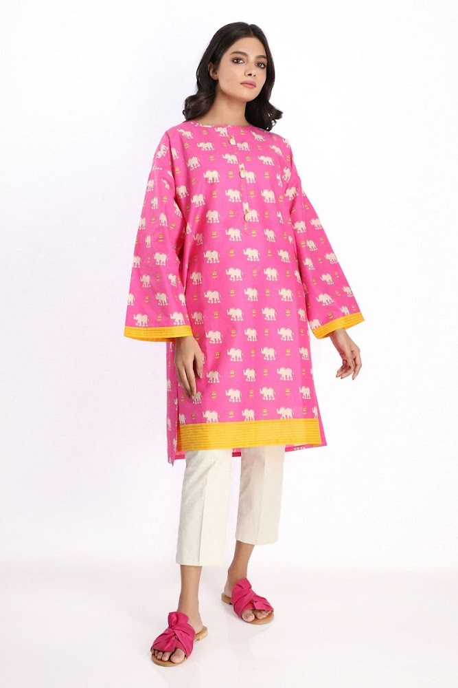 Khaadi lawn pink printed kurta