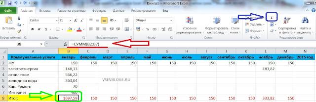 Как подсчитать автоматически сумму в Excel