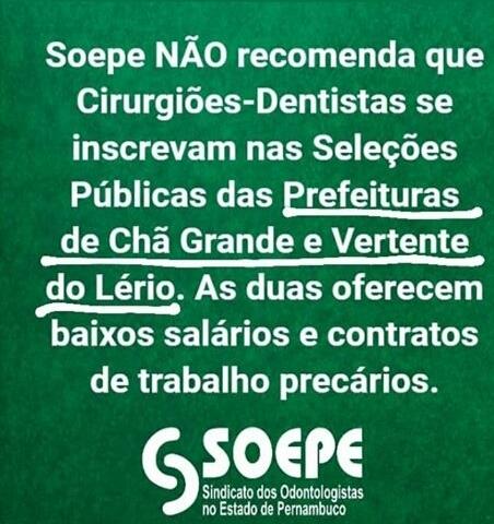 Urgente: Sindicato dos Odontologistas recomenda os Cirurgiões Dentistas a NÃO se inscrever  nas seleções públicas de Vertente do Lério e Chã Grande