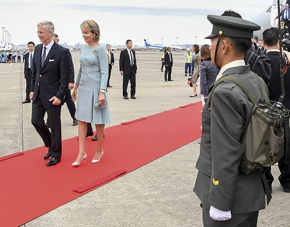 Belgian King Philippe and Queen Mathilde arrive at the Tokyo International Airport, Queen Mathilde wore dress