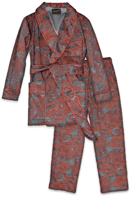 mens paisley robe pajamas set lounging pants dressing gown smoking jacket loungewear cotton vintage retro