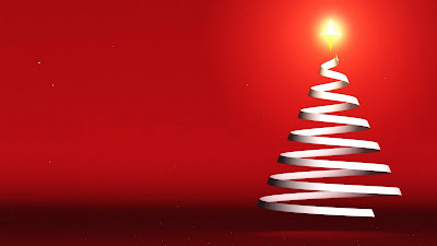 Rode wallpaper met kerstboom