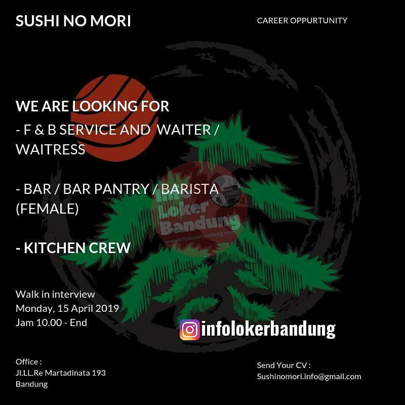 Lowongan Kerja Sushi No Mori Resto Bandung April 2019