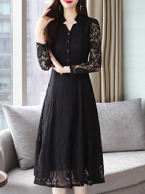 V Neck Single Breasted Lace Plain Maxi Dress Black