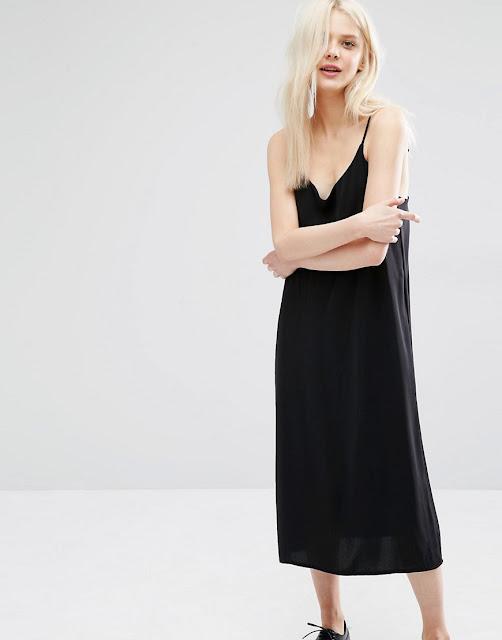 monki black cami dress, black cami dress, black slip dress, black strappy dress,