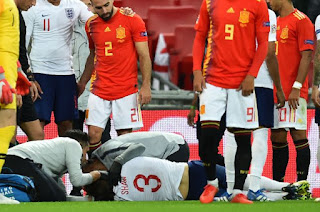 Luke Shaw stretchered off after colliding with Dani Carvajal in England game