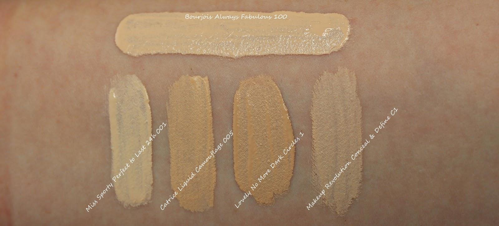 Korektor Bourjois Always Fabulous Full Coverage Concealer 100 Ivory swatche