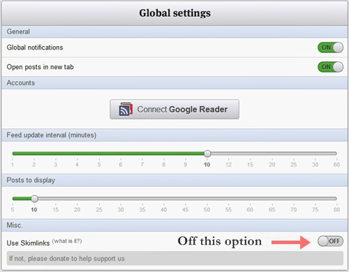 Feeder - An RSS Feed Reader Settings