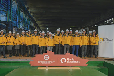 Dignitaries from the Cruise Line and Shipyard Witness Steel cutting for Quark New Expedition vessel