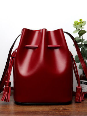Red Genuine Leather Bucket Bags with Tassel