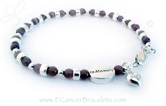 All Cancers Bracelet with a Ribbon Charm and a Puffed Heart Charm