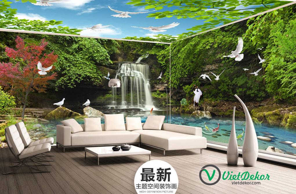 Tranh 3d dán tường phong thủy thác nước cò bay