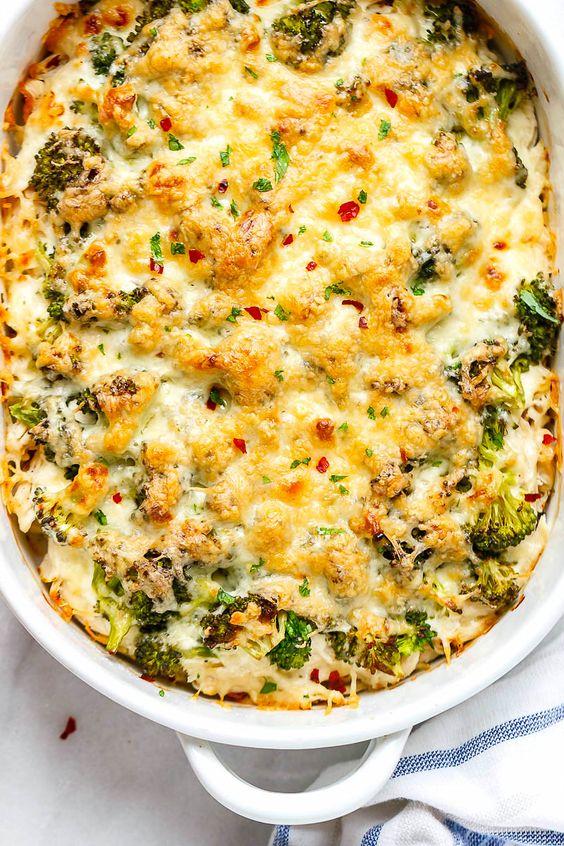 Healthy Broccoli Chicken Casserole with Cream Cheese and Mozzarella