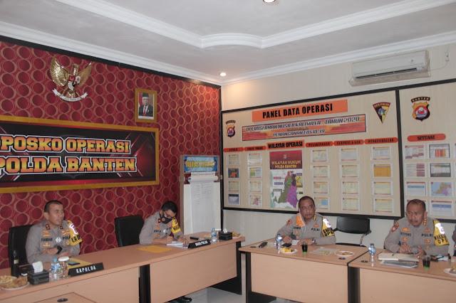 Gelar Zoom Meeting, Kapolda Banten Ingatkan Disiplin Prokes dan Antisipasi Kerumunan pada Kapolres Jajaran