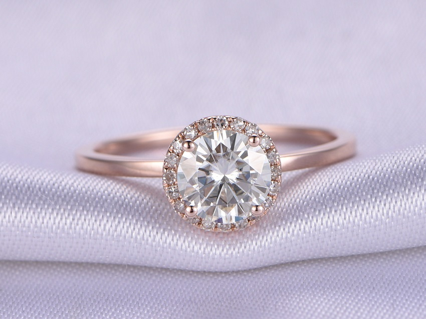 Simple Tips in Buying Couple, Promise, Engagement and Wedding Rings | Moissanite Engagement Rings: 6.5mm Round cut 1 ctw Moissanite and Diamond Engagement Ring 14K Rose Gold Halo Stacking Plain Band