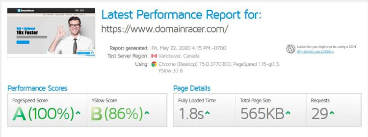 speed test of domainracer web hosting