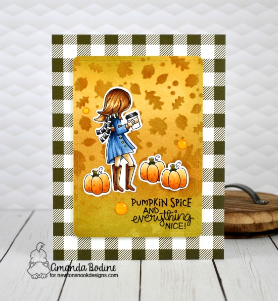 Pumpkin Spice Coffee Card by Amanda Bodine | Pumpkin Latte Stamp Set and Falling Leaves Stencil by Newton's Nook Designs #newtonsnook #handmade