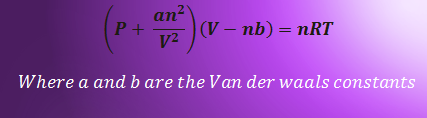 Van der Waals equation related questions answer