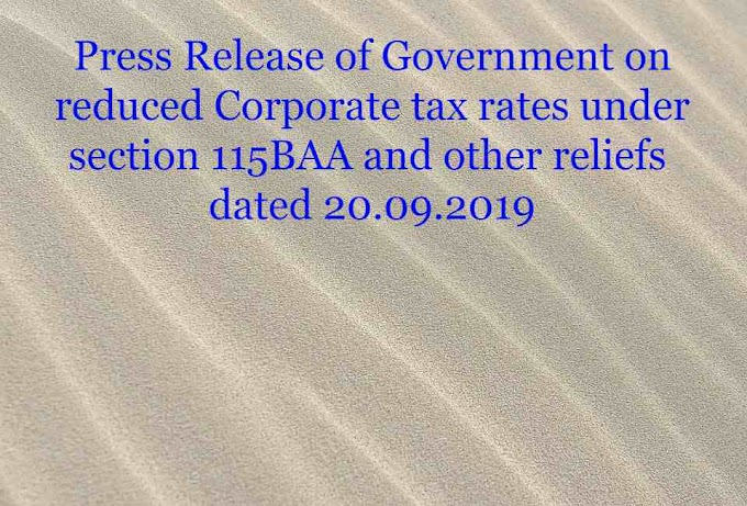 Press Release of Government on reduced Corporate tax rates under section 115BAA