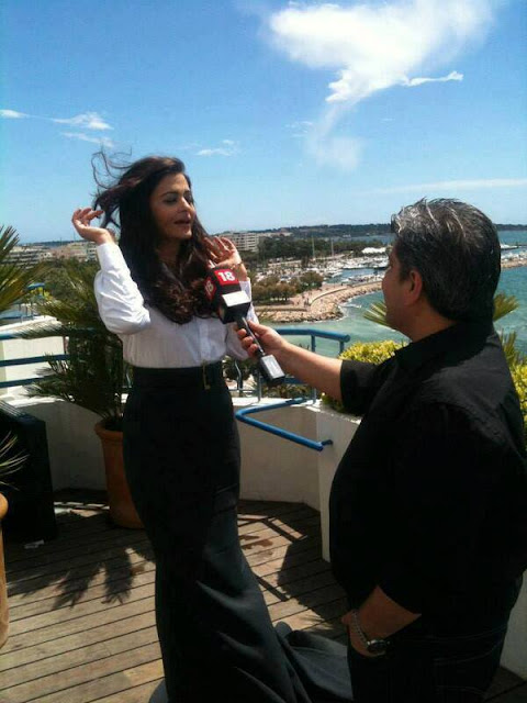 Aishwarya Rai looking gorgeous at Cannes during interview