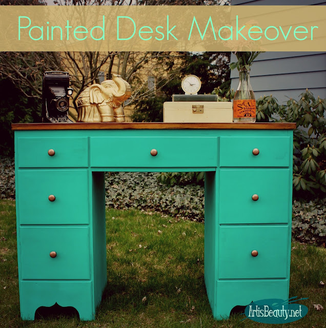 bohemian painted desk makeover diy deco art mint green chalky finish makeover