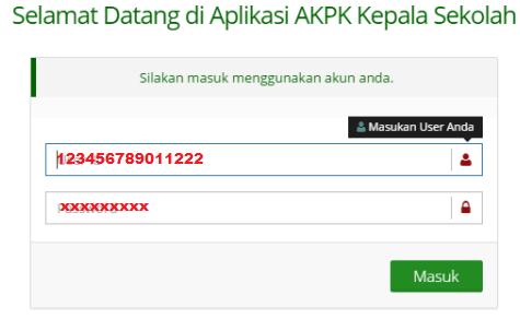 gambar cara login aplikasi AKPK Kepala Sekolah