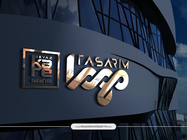3D logo tasarımı gold tabela