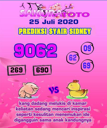 Prediksi Sakuratoto Sydney Sabtu 25 Juli 2020