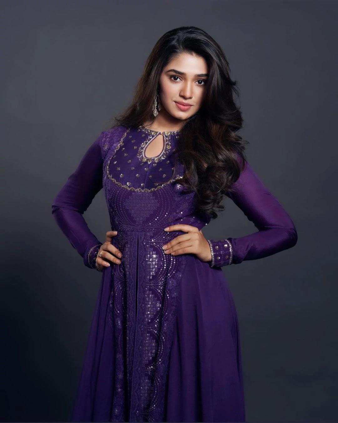 kriti-shetty-in-purple-anarkali-suit