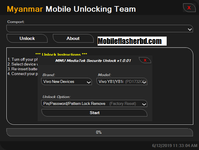 MTK Security Unlock Tool v1.0 One Click Unlock Vivo & Xiaomi Pin, Password, Pattern, Mi Account Without Data lost By Mobileflasherbd