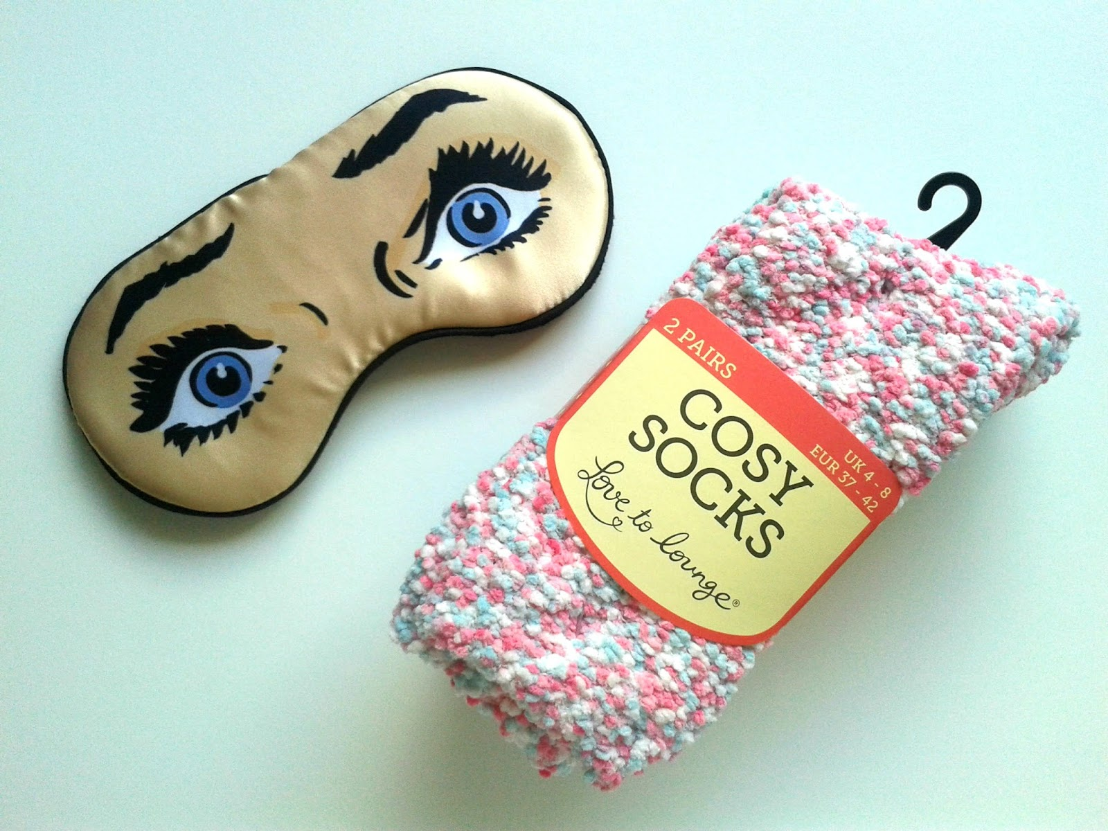 Primark Cosy Socks Catseye London Comic Woman Eye Mask My Long Haul Flight Essentials Beauty Review