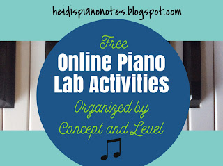Free Online Piano Lab Activities Organized by Concept and Level for the Piano Teaching Lab or Piano Lesson Assignment