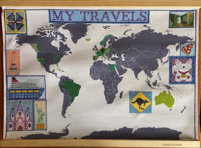 Cross stitch map of my travels in progress