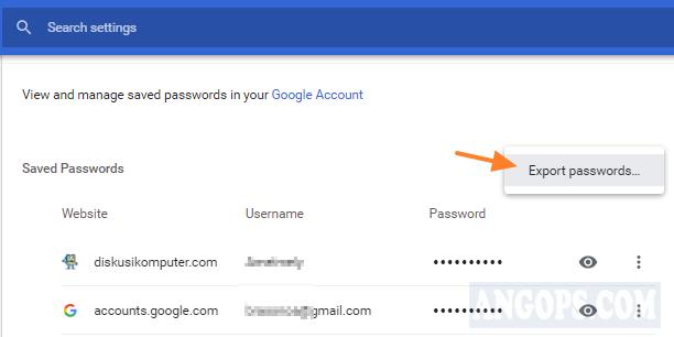 cara export password google chrome