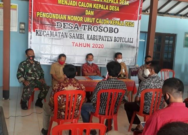 Penetapan Dan Pengundian Calon Pilkades Desa Trosobo Tetap Melaksanakan Protokol Kesehatan