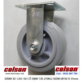 Bánh xe đẩy cao su đặc Colson phi 150 chịu lực 270kg | 4-6108-459 www.banhxepu.net