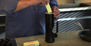Turns cold butter into warm liquid butter