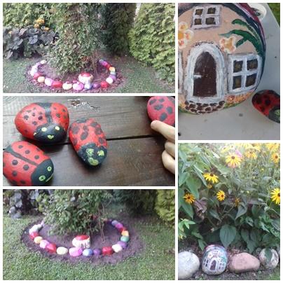 Malowane kamienie-ozdoba ogrodu.