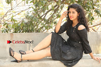 Telugu Actress Pavani Latest Pos in Black Short Dress at Smile Pictures Production No 1 Movie Opening  0102.JPG