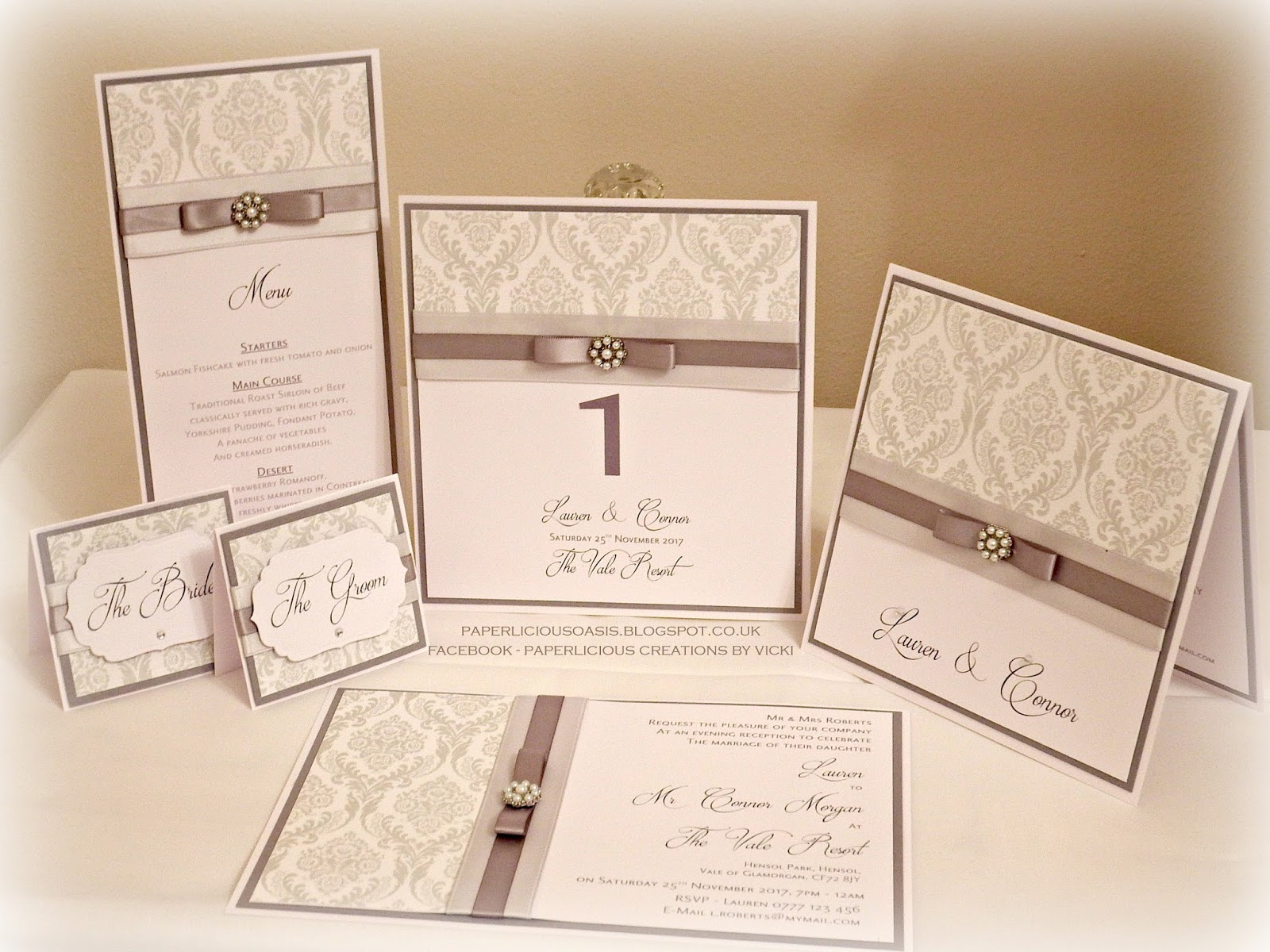 Paperlicious Oasis: Grey wedding invitations and reception stationery