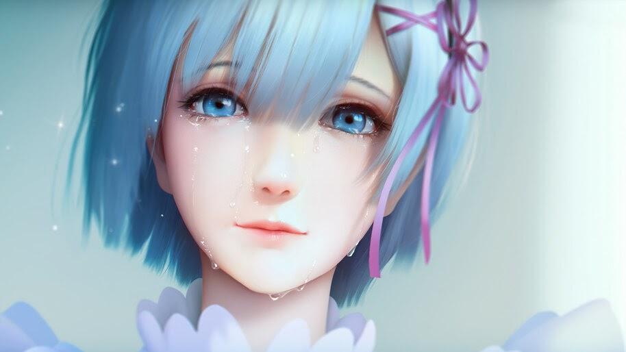 Anime, Girl, Crying, Re:Zero, Rem, 4K, #4.2682