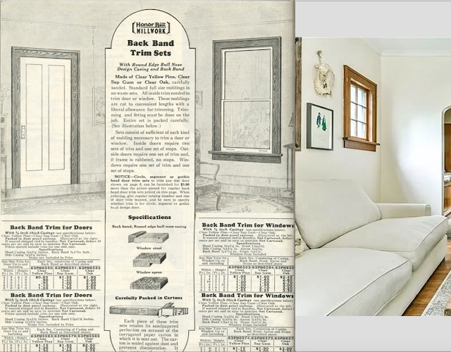 catalog comparison of Sears back band trim against Interior views of Sears Gladstone at 1026 Homer Avenue Ross Twp, PA, floorplan-B