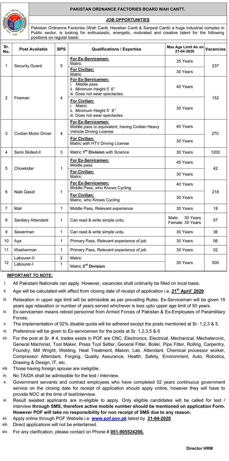 POF Jobs 2020 April, POF WAH jobs 2020, pof 2020 Jobs Application form