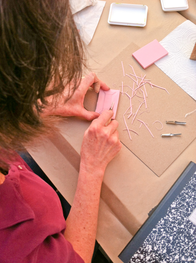 Surface printing workshop with Lotta Jansdotter |Carving Rubber Stamps | The Line Hotel | Poketo | Los Angeles California