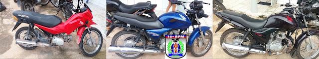 Brejo: PM recupera três motos roubadas