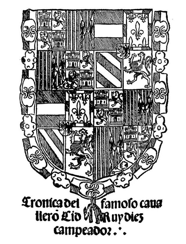 Титульна сторінка «Хроніки славного лицаря Сіда Руй Дієса Кампеадора», яка вийшла в місті Бурґос, у 1512 р.