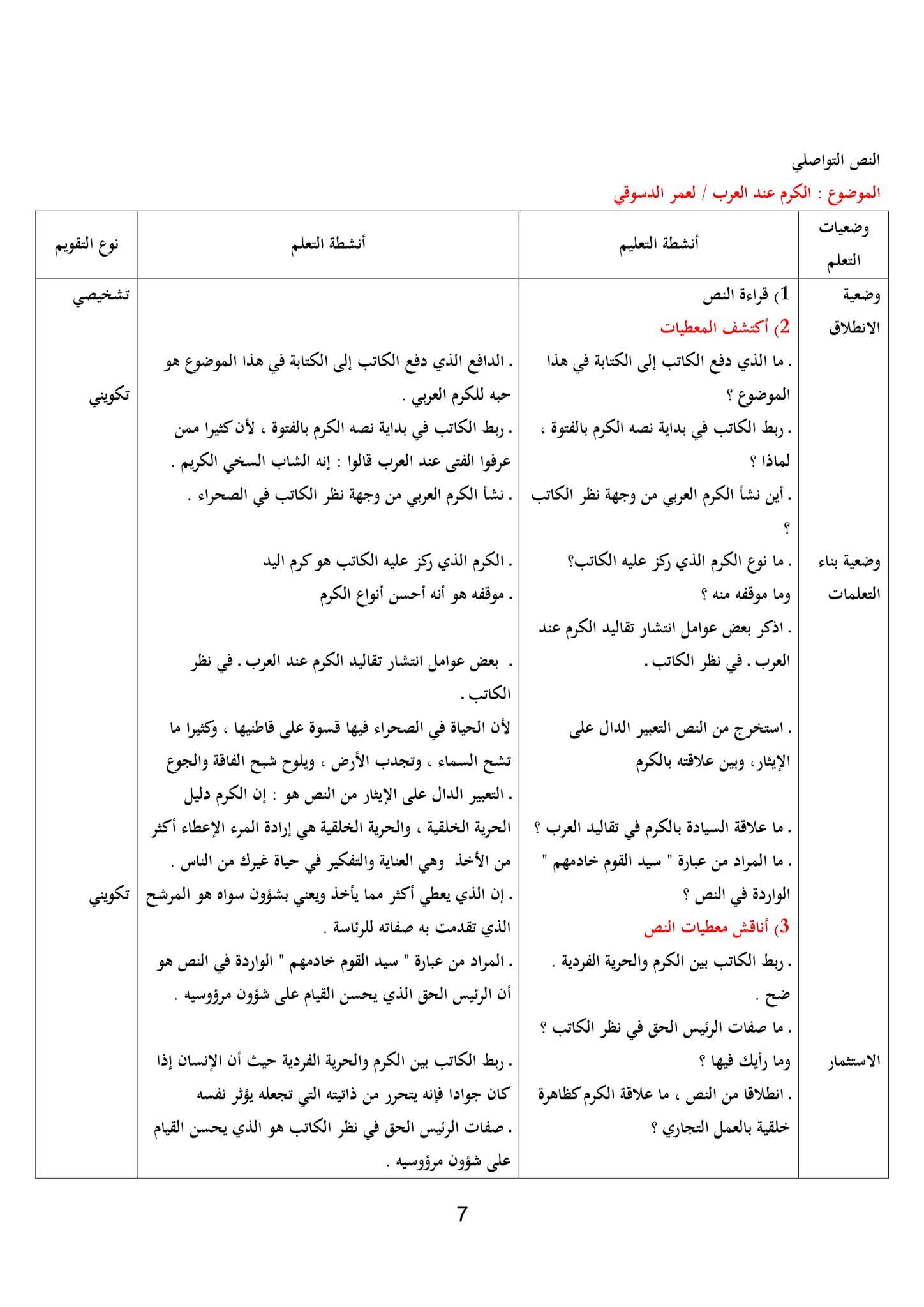 تحضير نص الكرم عن العرب 1 ثانوي علمي