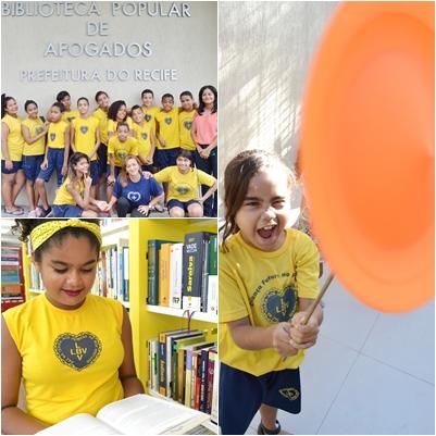 Crianças da LBV participam de atividades lúdicas e culturais na Biblioteca popular de Afogados